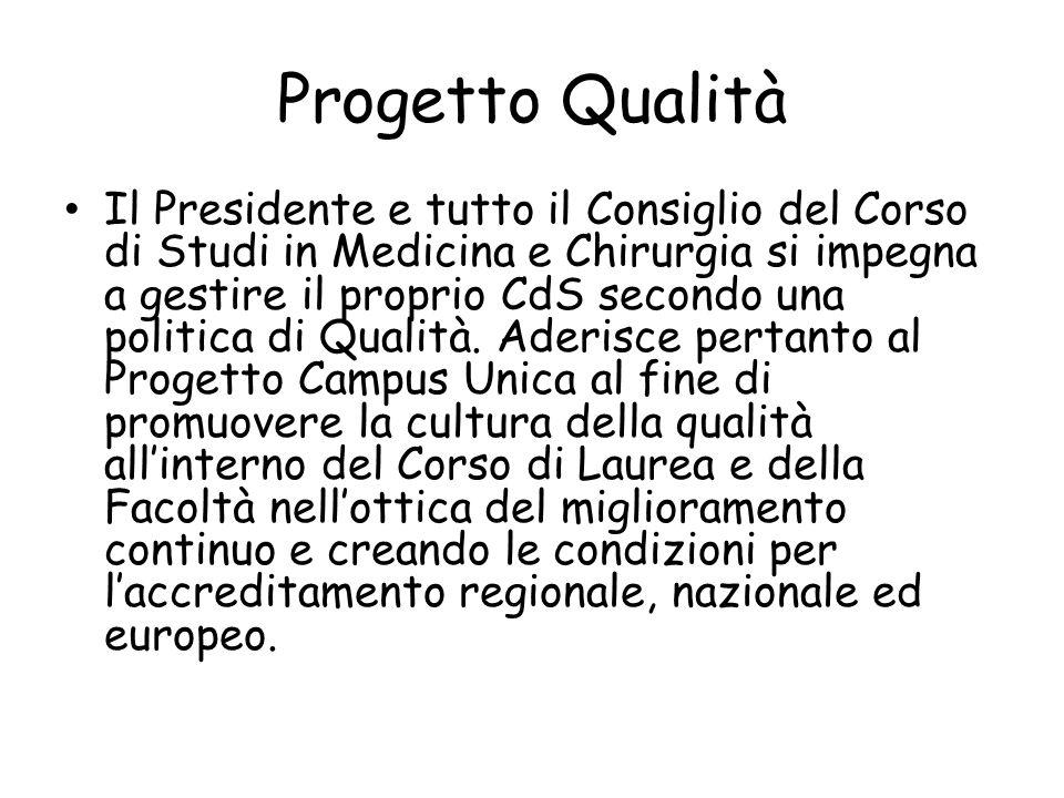 Progetto Qualità Il Presidente e tutto il Consiglio del Corso di Studi in Medicina e Chirurgia si impegna a gestire il proprio CdS secondo una politica di Qualità.