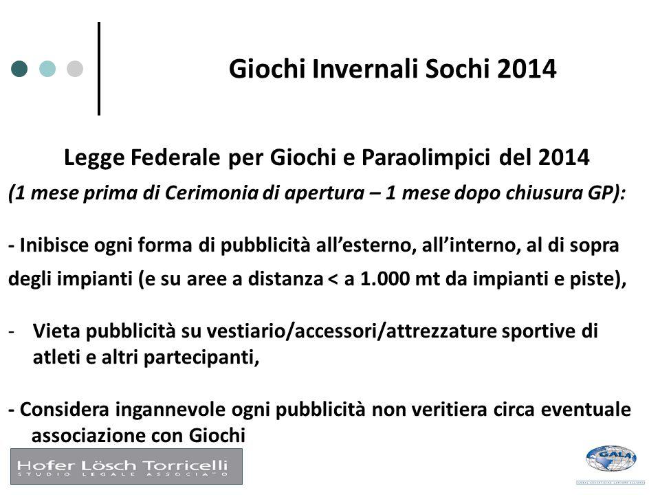 Giochi Invernali Sochi 2014 Legge Federale per Giochi e Paraolimpici del 2014 (1 mese prima di Cerimonia di apertura – 1 mese dopo chiusura GP): - Ini