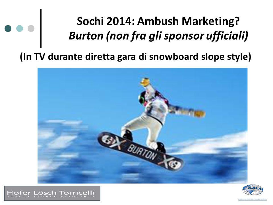 Sochi 2014: Ambush Marketing? Burton (non fra gli sponsor ufficiali) (In TV durante diretta gara di snowboard slope style)