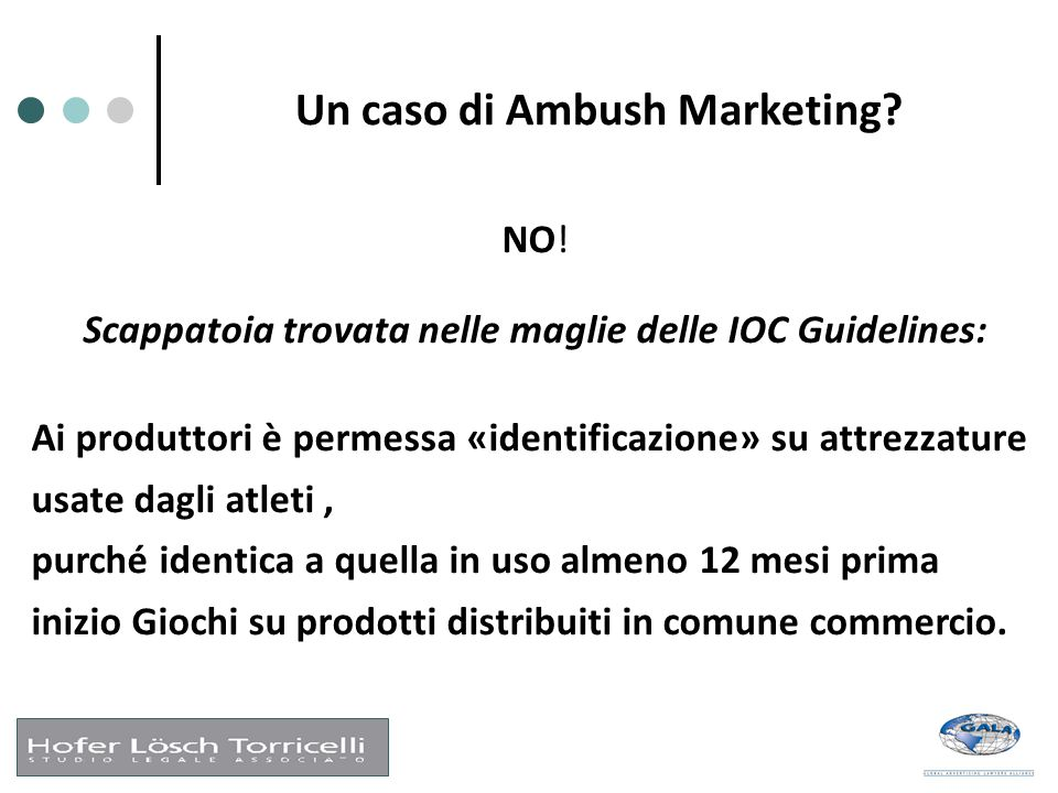 Un caso di Ambush Marketing? NO! Scappatoia trovata nelle maglie delle IOC Guidelines: Ai produttori è permessa «identificazione» su attrezzature usat