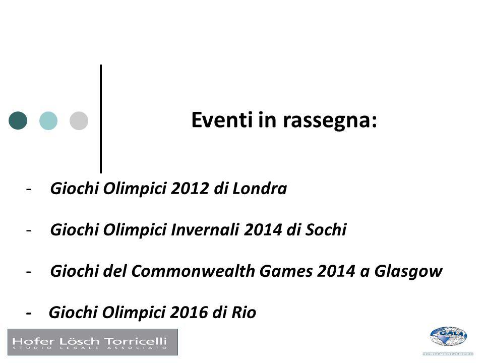 Eventi in rassegna: -Giochi Olimpici 2012 di Londra -Giochi Olimpici Invernali 2014 di Sochi -Giochi del Commonwealth Games 2014 a Glasgow - Giochi Ol