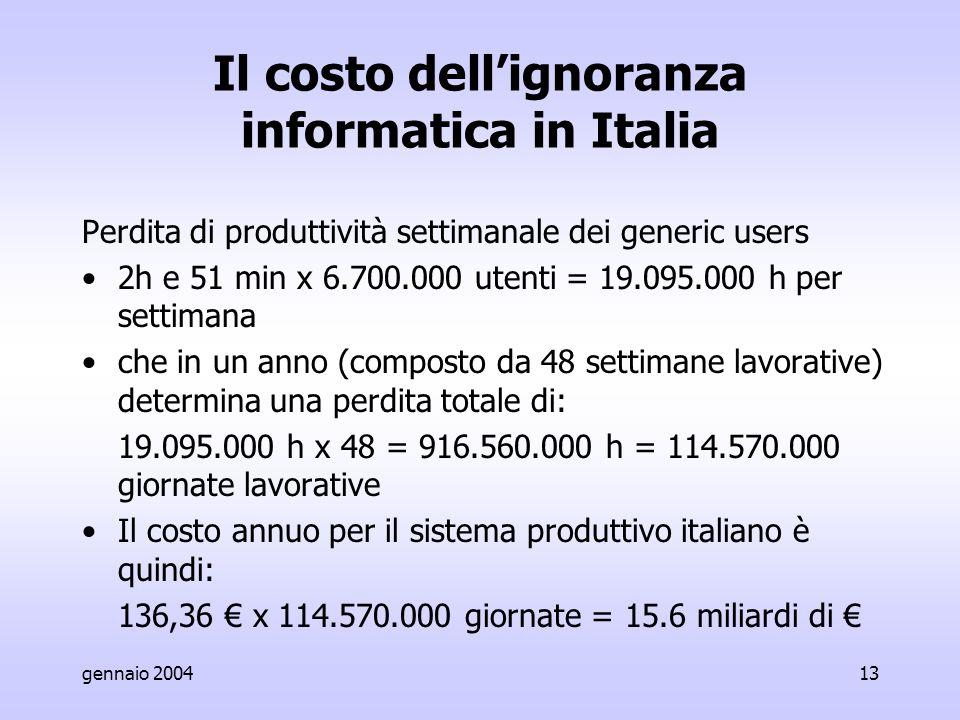 gennaio 200413 Il costo dell'ignoranza informatica in Italia Perdita di produttività settimanale dei generic users 2h e 51 min x 6.700.000 utenti = 19.095.000 h per settimana che in un anno (composto da 48 settimane lavorative) determina una perdita totale di: 19.095.000 h x 48 = 916.560.000 h = 114.570.000 giornate lavorative Il costo annuo per il sistema produttivo italiano è quindi: 136,36 € x 114.570.000 giornate = 15.6 miliardi di €
