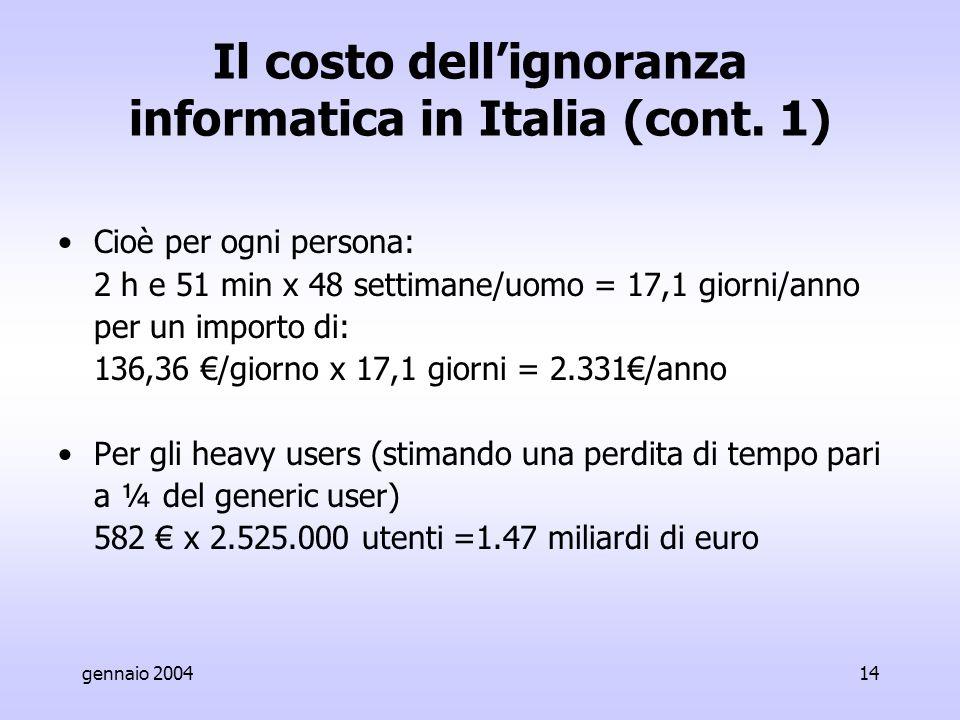 gennaio 200414 Il costo dell'ignoranza informatica in Italia (cont.