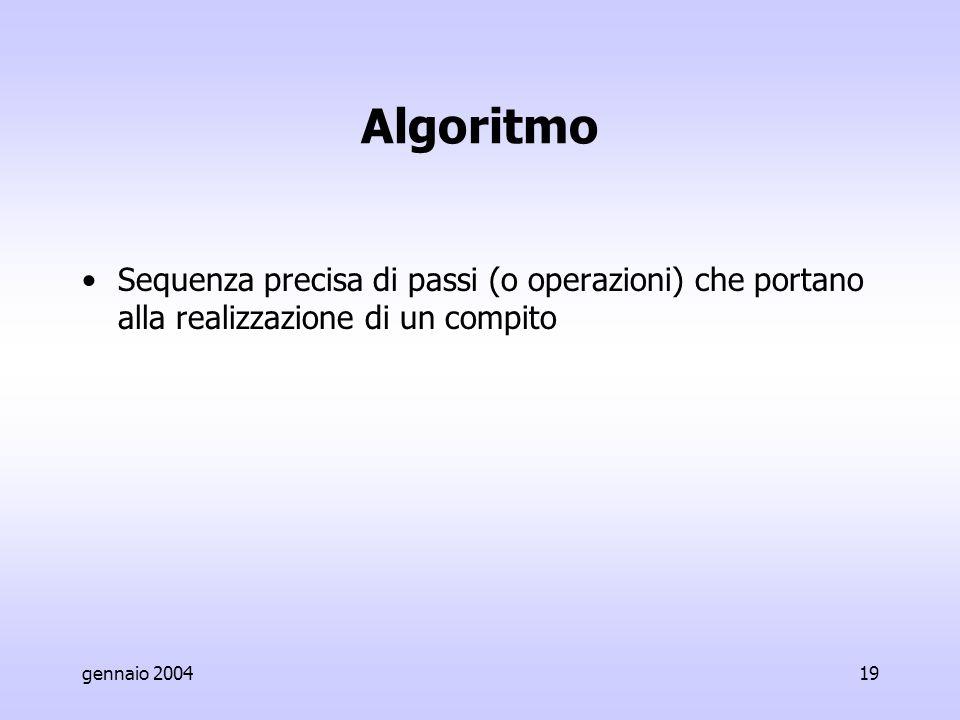 gennaio 200419 Algoritmo Sequenza precisa di passi (o operazioni) che portano alla realizzazione di un compito
