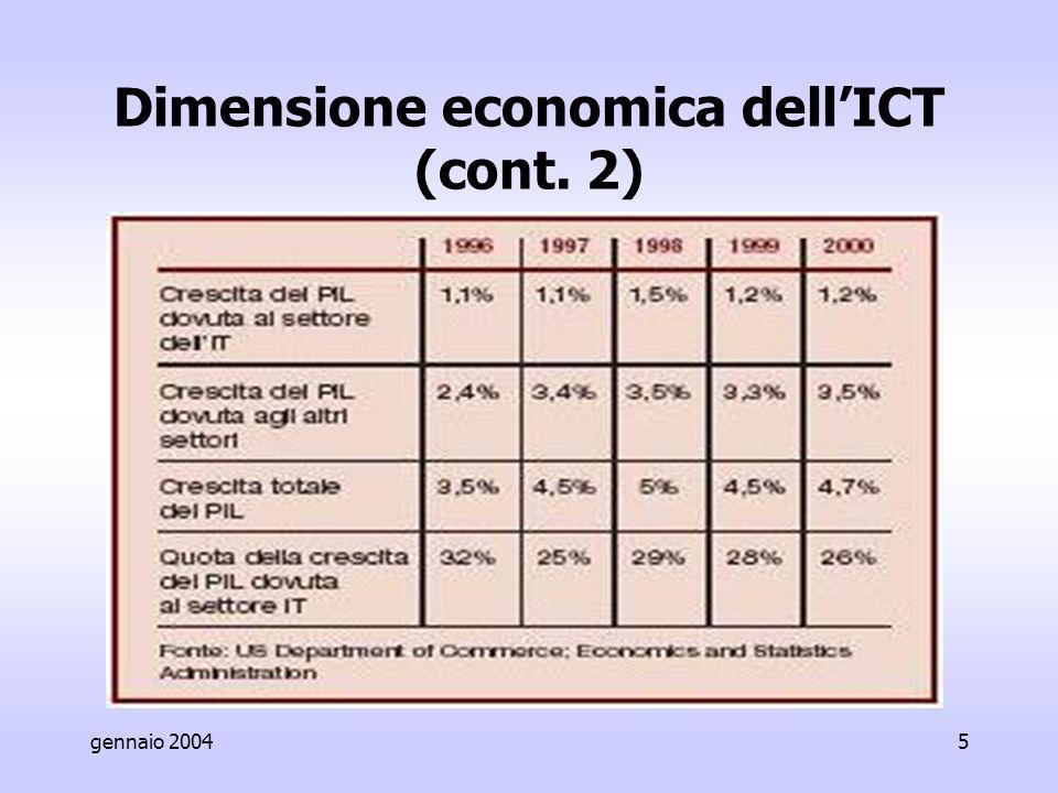 gennaio 20045 Dimensione economica dell'ICT (cont. 2)