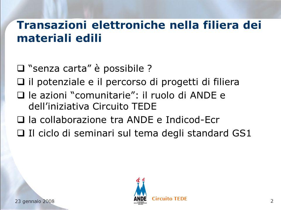 2 Circuito TEDE Transazioni elettroniche nella filiera dei materiali edili q senza carta è possibile .