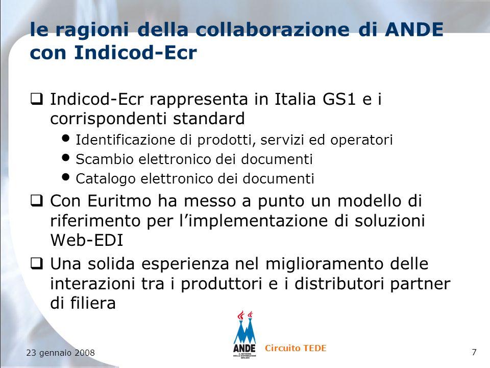 7 23 gennaio 2008 Circuito TEDE le ragioni della collaborazione di ANDE con Indicod-Ecr qIndicod-Ecr rappresenta in Italia GS1 e i corrispondenti standard Identificazione di prodotti, servizi ed operatori Scambio elettronico dei documenti Catalogo elettronico dei documenti qCon Euritmo ha messo a punto un modello di riferimento per l'implementazione di soluzioni Web-EDI qUna solida esperienza nel miglioramento delle interazioni tra i produttori e i distributori partner di filiera