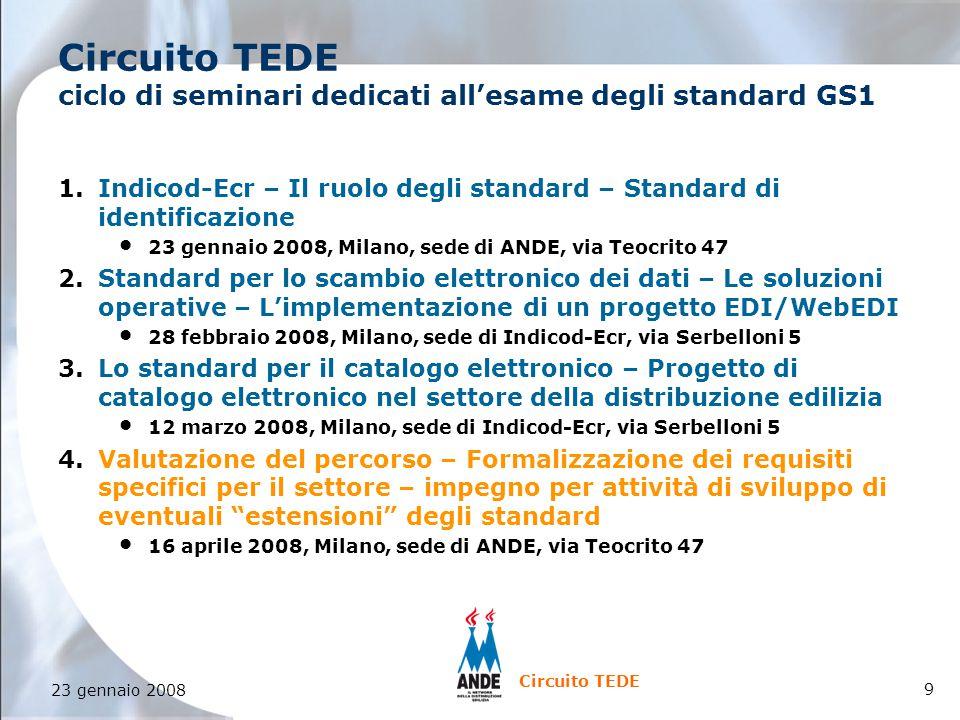 9 23 gennaio 2008 Circuito TEDE Circuito TEDE ciclo di seminari dedicati all'esame degli standard GS1 1.Indicod-Ecr – Il ruolo degli standard – Standard di identificazione 23 gennaio 2008, Milano, sede di ANDE, via Teocrito 47 2.Standard per lo scambio elettronico dei dati – Le soluzioni operative – L'implementazione di un progetto EDI/WebEDI 28 febbraio 2008, Milano, sede di Indicod-Ecr, via Serbelloni 5 3.Lo standard per il catalogo elettronico – Progetto di catalogo elettronico nel settore della distribuzione edilizia 12 marzo 2008, Milano, sede di Indicod-Ecr, via Serbelloni 5 4.Valutazione del percorso – Formalizzazione dei requisiti specifici per il settore – impegno per attività di sviluppo di eventuali estensioni degli standard 16 aprile 2008, Milano, sede di ANDE, via Teocrito 47