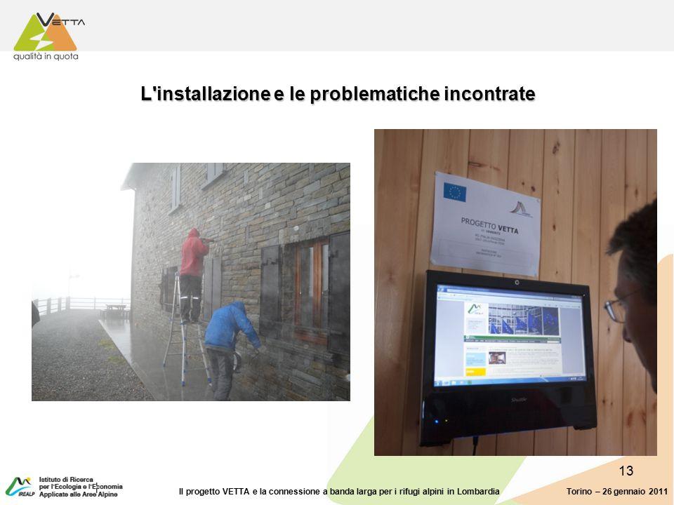 13 L installazione e le problematiche incontrate Torino – 26 gennaio 2011Il progetto VETTA e la connessione a banda larga per i rifugi alpini in Lombardia
