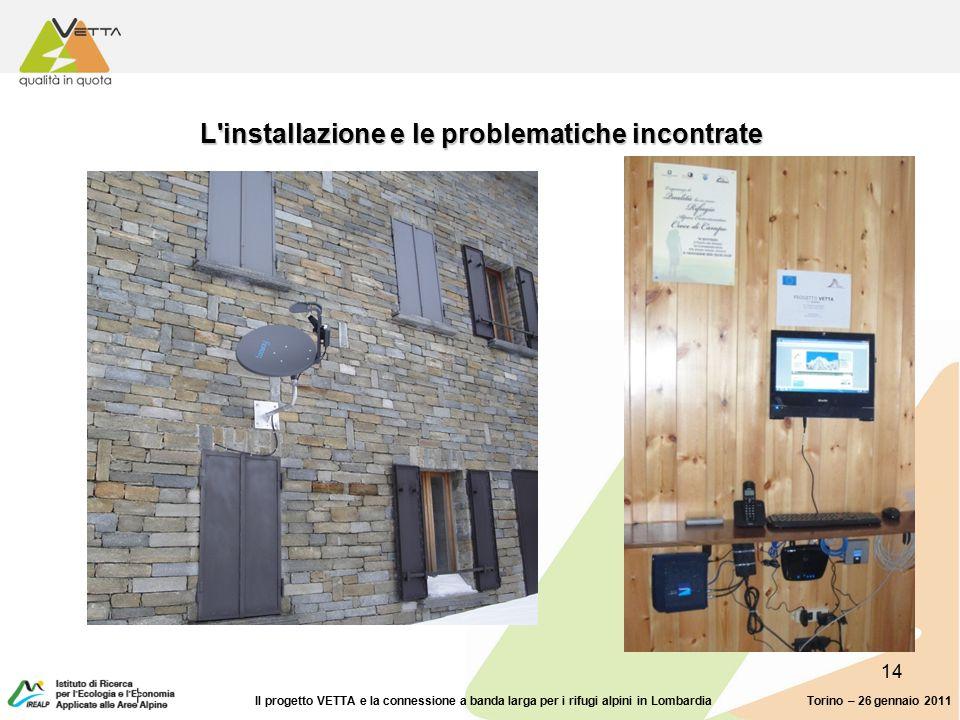 14 L installazione e le problematiche incontrate Torino – 26 gennaio 2011Il progetto VETTA e la connessione a banda larga per i rifugi alpini in Lombardia