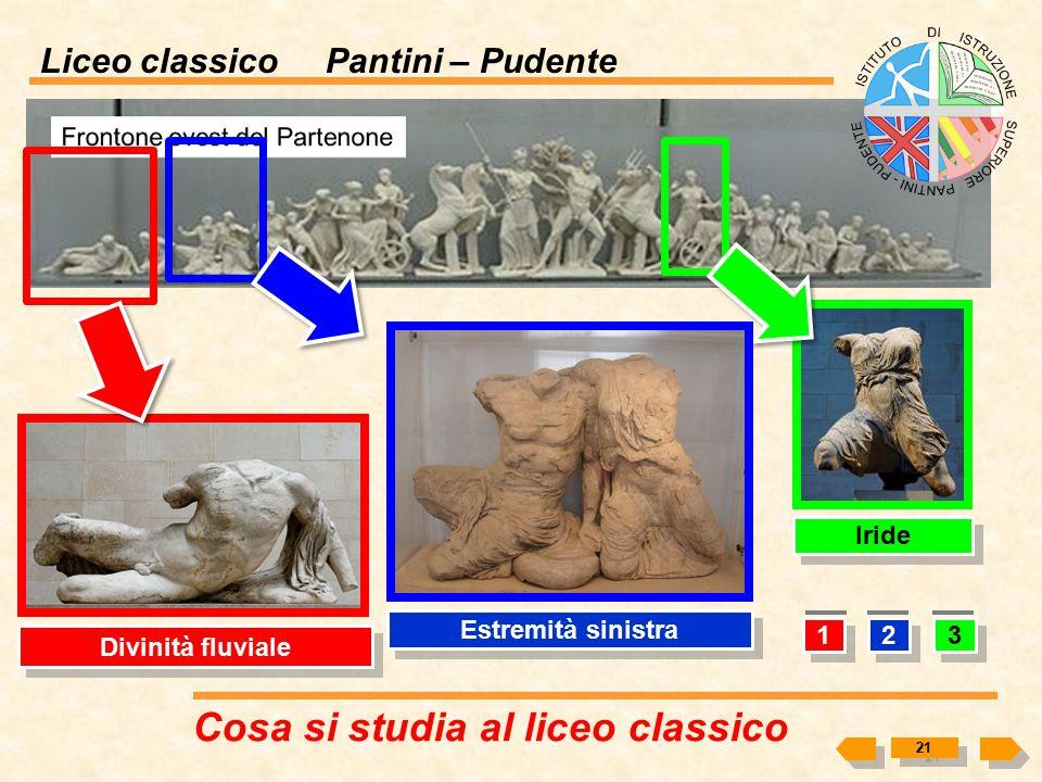 Liceo classico Pantini – Pudente Cosa si studia al liceo classico 20 2 2 3 3 4 4 1 1 Testa di cavallo carro della Luna Dioniso Gruppo delle dee di sin