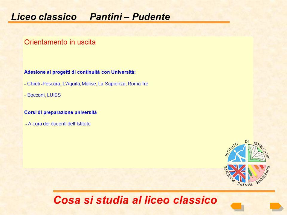 Liceo classico Pantini – Pudente Offerta formativa principali appuntamenti (Per l'offerta completa verrà consegnato il POF 'Piano Offerta Formativa' n