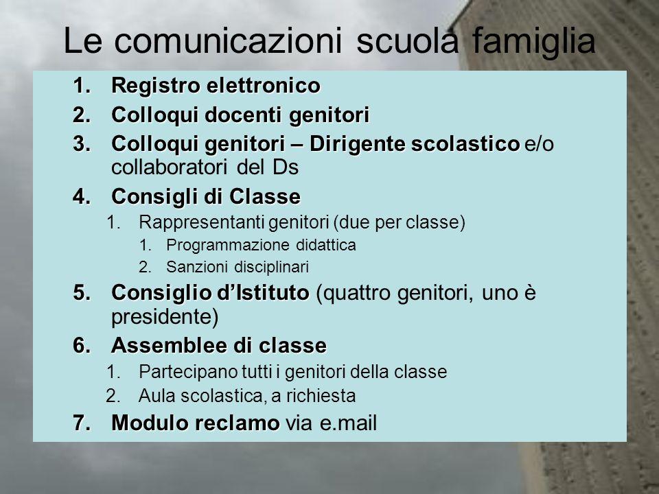 Le comunicazioni scuola famiglia 1.Registro elettronico 2.Colloqui docenti genitori 3.Colloqui genitori – Dirigente scolastico 3.Colloqui genitori – D
