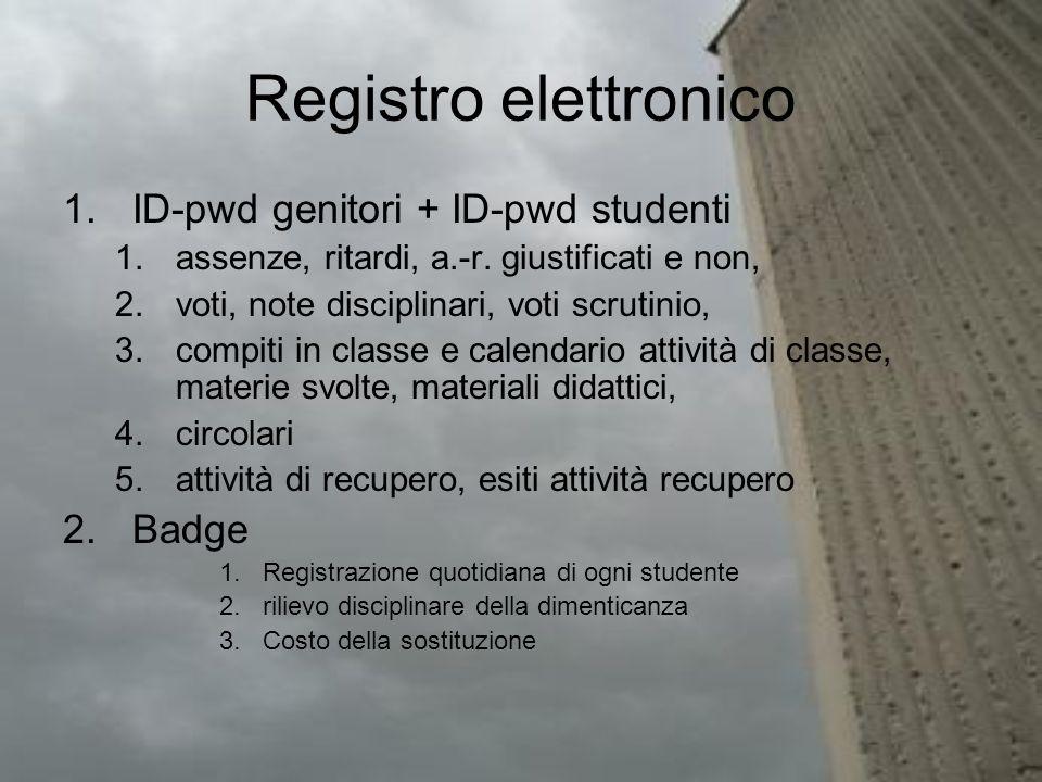 Registro elettronico 1.ID-pwd genitori + ID-pwd studenti 1.assenze, ritardi, a.-r. giustificati e non, 2.voti, note disciplinari, voti scrutinio, 3.co