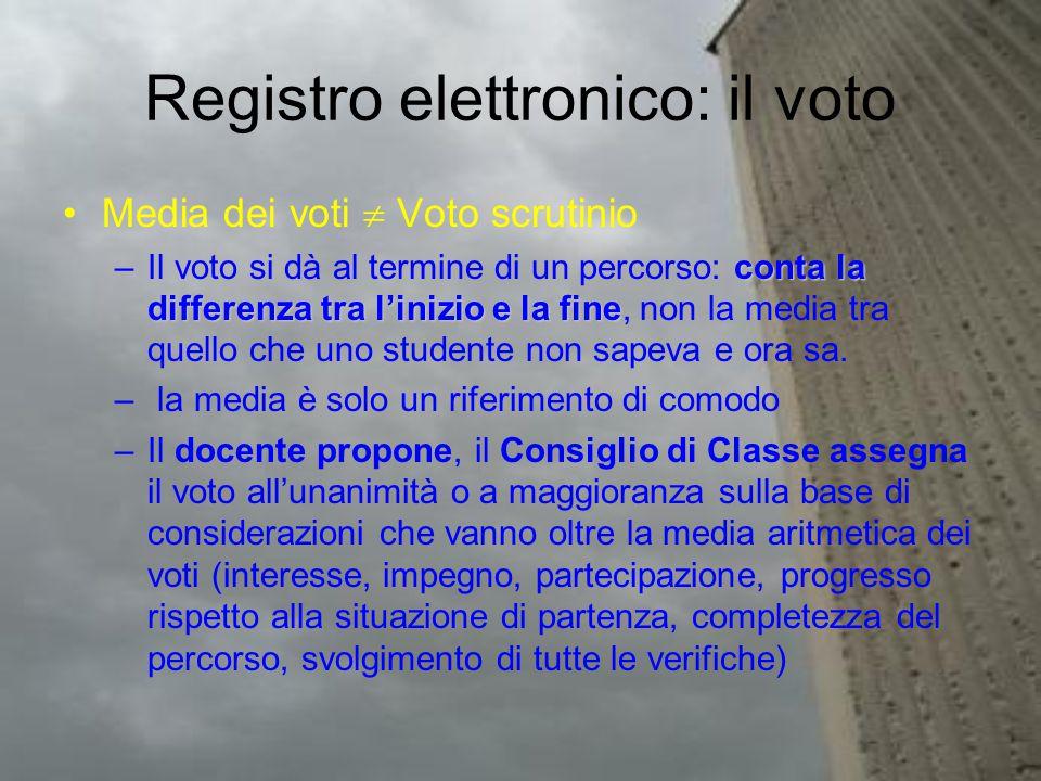 Registro elettronico: il voto Media dei voti  Voto scrutinio conta la differenza tra l'inizio e la fine –Il voto si dà al termine di un percorso: conta la differenza tra l'inizio e la fine, non la media tra quello che uno studente non sapeva e ora sa.