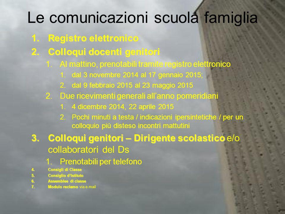 Le comunicazioni scuola famiglia 1.Registro elettronico 2.Colloqui docenti genitori 1.Al mattino, prenotabili tramite registro elettronico 1.dal 3 nov
