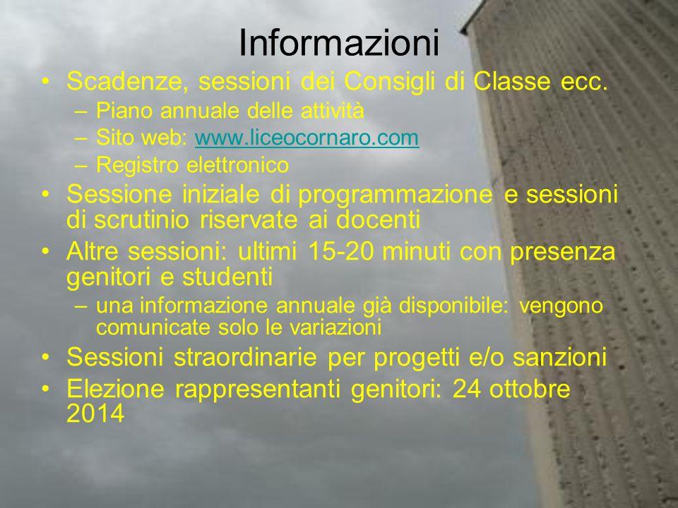 Informazioni Scadenze, sessioni dei Consigli di Classe ecc. –Piano annuale delle attività –Sito web: www.liceocornaro.comwww.liceocornaro.com –Registr