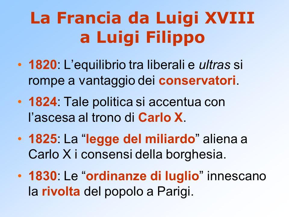 La Francia da Luigi XVIII a Luigi Filippo 1820: L'equilibrio tra liberali e ultras si rompe a vantaggio dei conservatori. 1824: Tale politica si accen