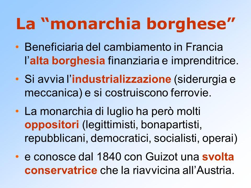 """La """"monarchia borghese"""" Beneficiaria del cambiamento in Francia l'alta borghesia finanziaria e imprenditrice. Si avvia l'industrializzazione (siderurg"""