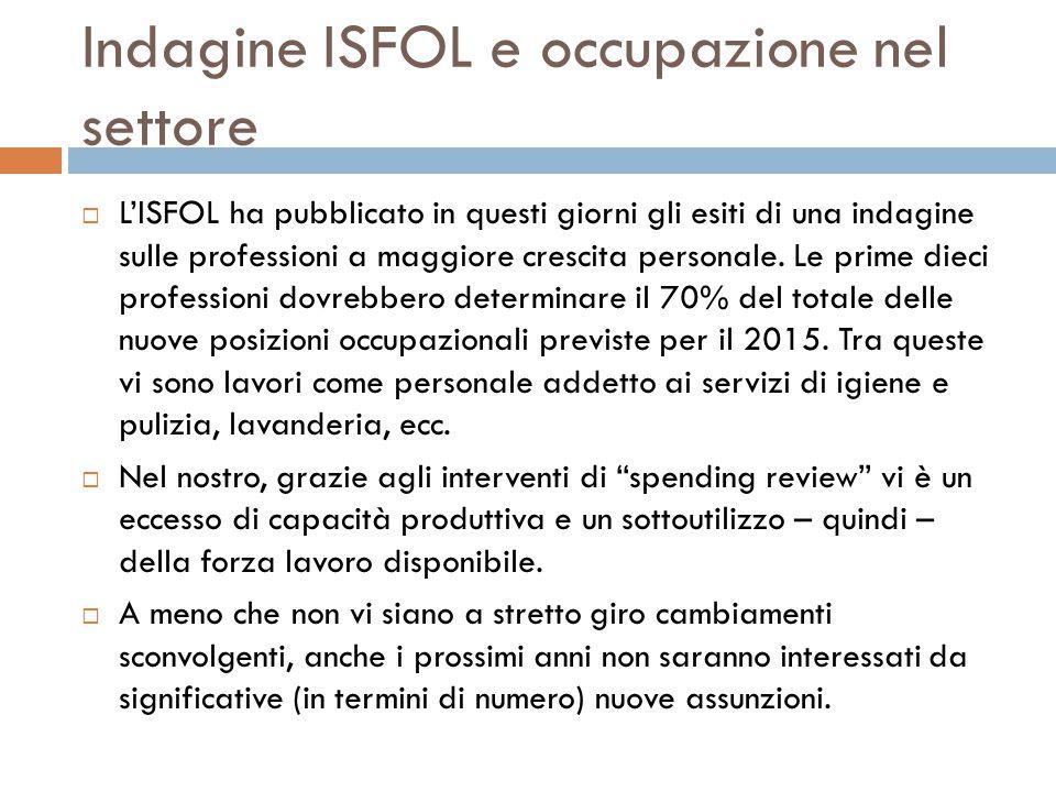 Indagine ISFOL e occupazione nel settore  L'ISFOL ha pubblicato in questi giorni gli esiti di una indagine sulle professioni a maggiore crescita pers