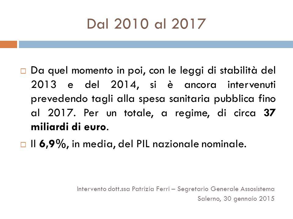 Dal 2010 al 2017  Da quel momento in poi, con le leggi di stabilità del 2013 e del 2014, si è ancora intervenuti prevedendo tagli alla spesa sanitaria pubblica fino al 2017.