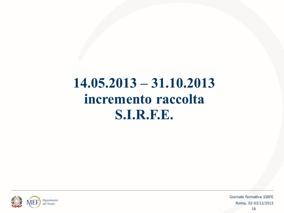 14.05.2013 – 31.10.2013 incremento raccolta S.I.R.F.E. 16 Giornate formative SIRFE Roma, 02-03/12/2013
