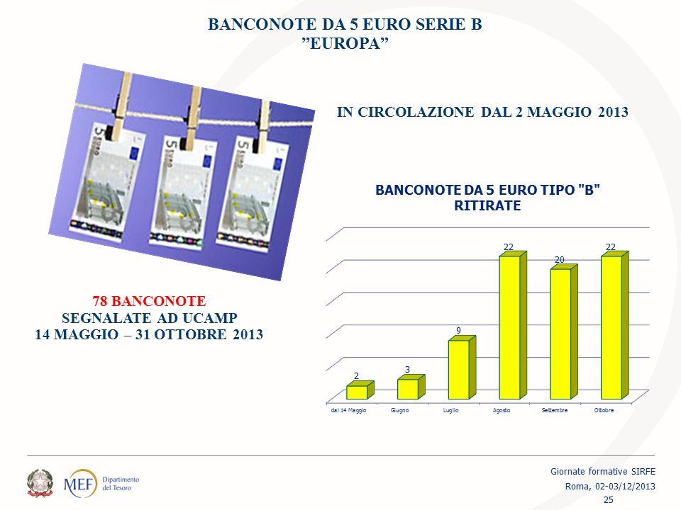 """BANCONOTE DA 5 EURO SERIE B """"EUROPA"""" 78 BANCONOTE SEGNALATE AD UCAMP 14 MAGGIO – 31 OTTOBRE 2013 IN CIRCOLAZIONE DAL 2 MAGGIO 2013 25 Giornate formati"""