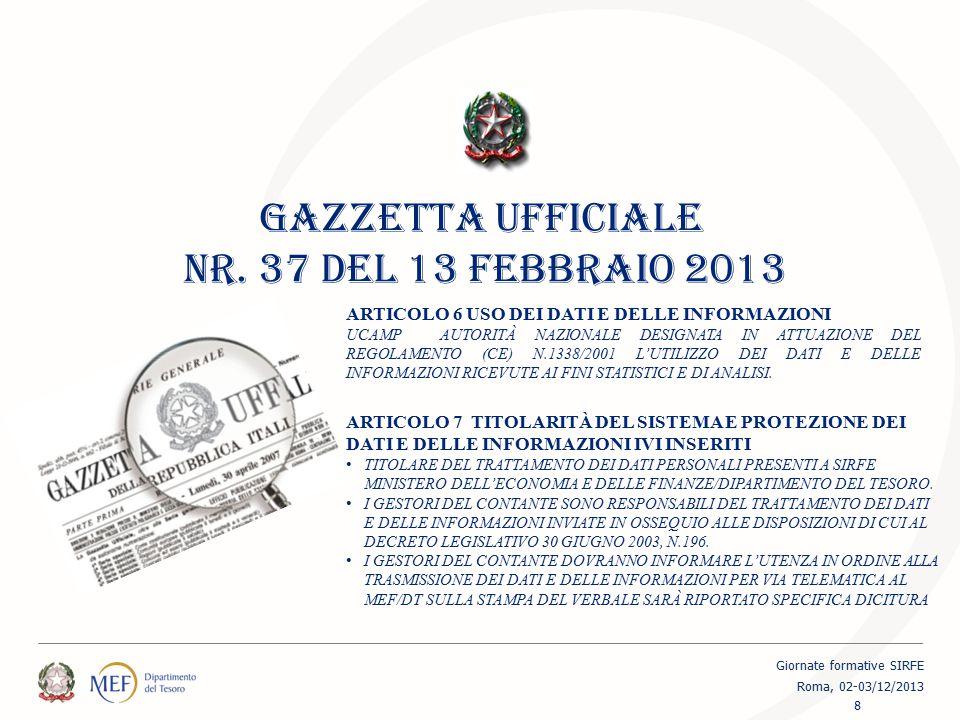 DATABASE SIRFE SEGNALAZIONI BANCONOTE E MONETE RICEVUTE 1 Gennaio – 31 ottobre 2013 19 Giornate formative SIRFE Roma, 02-03/12/2013