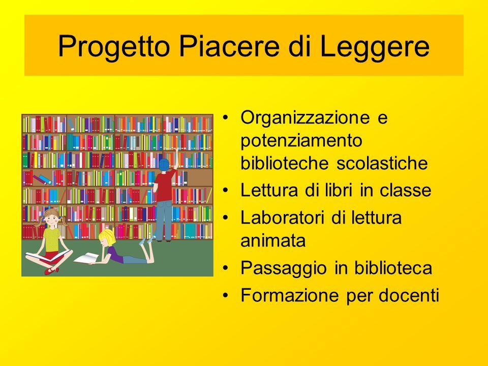 Organizzazione e potenziamento biblioteche scolastiche Lettura di libri in classe Laboratori di lettura animata Passaggio in biblioteca Formazione per