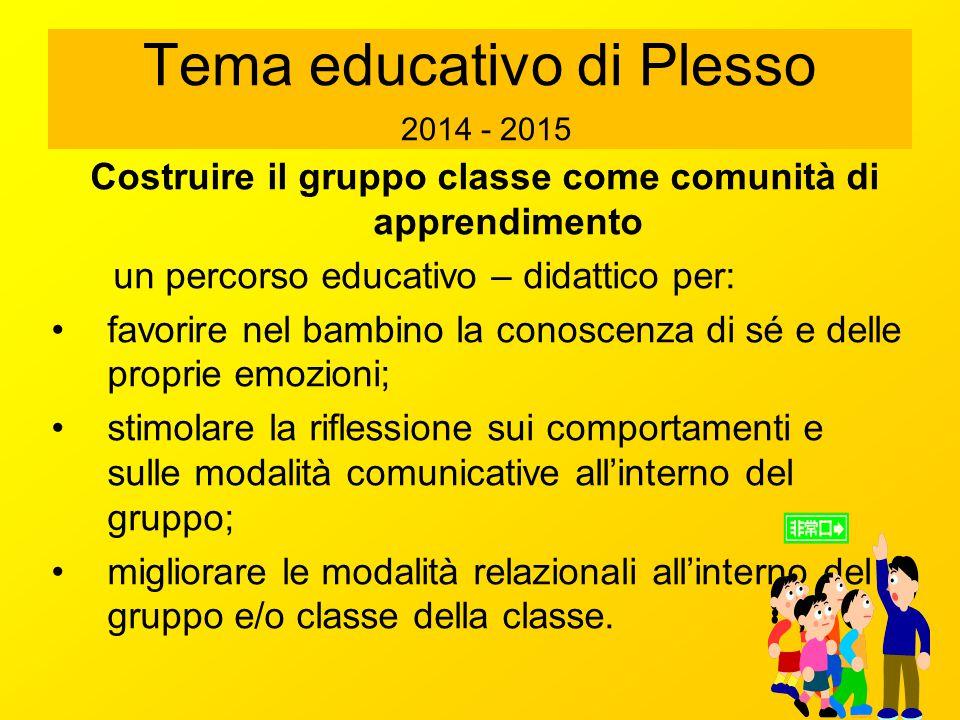 Tema educativo di Plesso 2014 - 2015 Costruire il gruppo classe come comunità di apprendimento un percorso educativo – didattico per: favorire nel bam