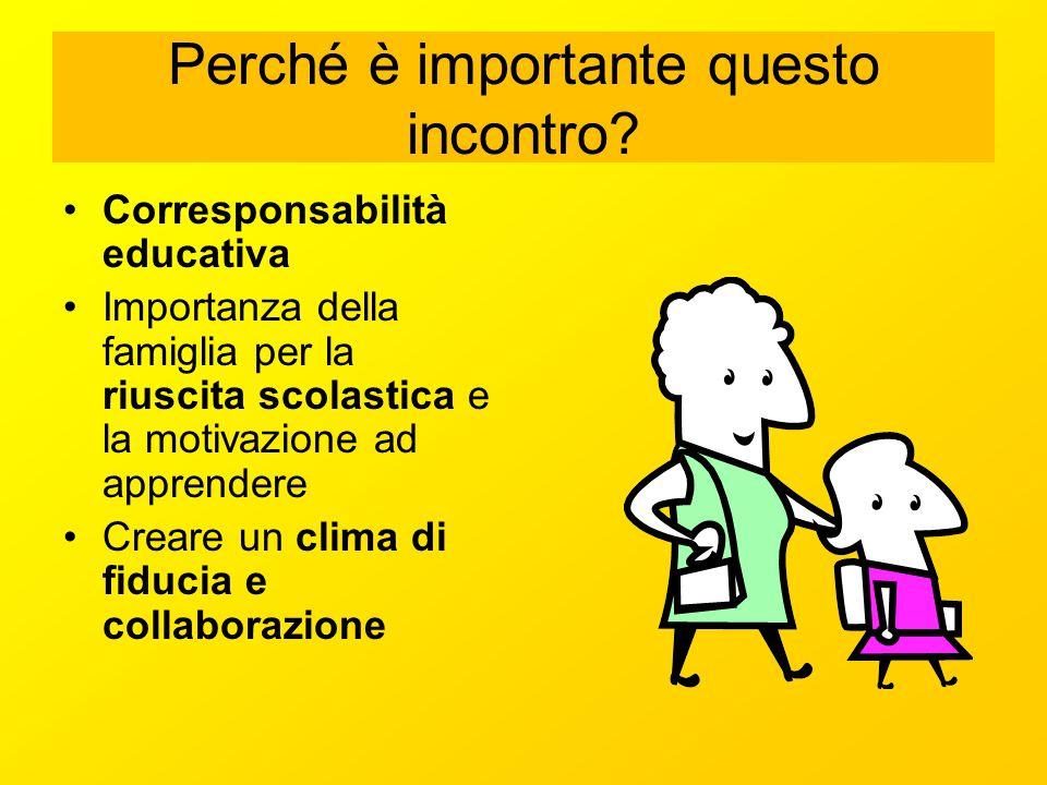 Perché è importante questo incontro? Corresponsabilità educativa Importanza della famiglia per la riuscita scolastica e la motivazione ad apprendere C