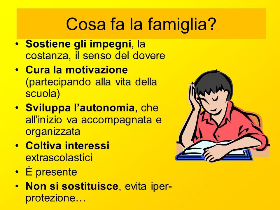 Cosa fa la famiglia? Sostiene gli impegni, la costanza, il senso del dovere Cura la motivazione (partecipando alla vita della scuola) Sviluppa l'auton
