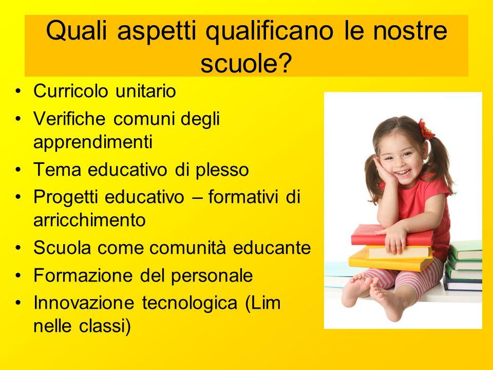 Quali aspetti qualificano le nostre scuole? Curricolo unitario Verifiche comuni degli apprendimenti Tema educativo di plesso Progetti educativo – form