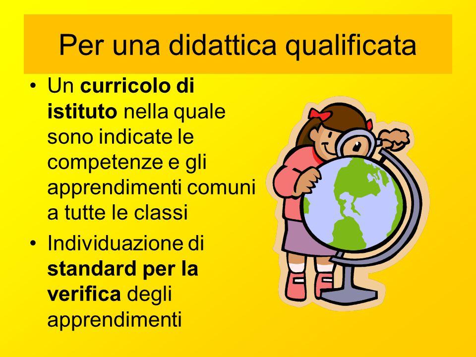 Per una didattica qualificata Un curricolo di istituto nella quale sono indicate le competenze e gli apprendimenti comuni a tutte le classi Individuaz