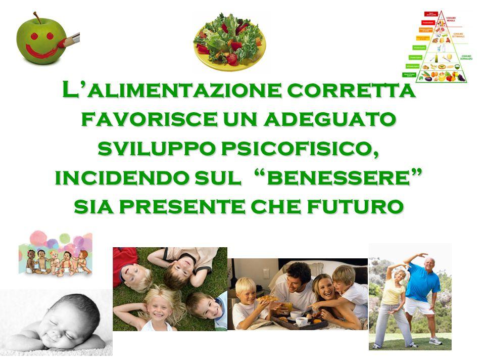 """L'alimentazione corretta favorisce un adeguato sviluppo psicofisico, incidendo sul """"benessere"""" sia presente che futuro"""