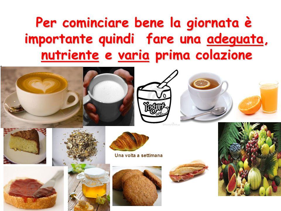 P PP Per cominciare bene la giornata è importante quindi fare una adeguata, nutriente e varia prima colazione 1. Una volta a settimana