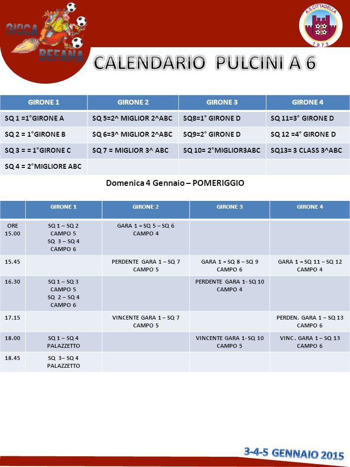 Domenica 4 Gennaio – POMERIGGIO GIRONE 1GIRONE 2GIRONE 3GIRONE 4 ORE 15.00 SQ 1 – SQ 2 CAMPO 5 SQ 3 – SQ 4 CAMPO 6 GARA 1 = SQ 5 – SQ 6 CAMPO 4 15.45PERDENTE GARA 1 – SQ 7 CAMPO 5 GARA 1 = SQ 8 – SQ 9 CAMPO 6 GARA 1 = SQ 11 – SQ 12 CAMPO 4 16.30 SQ 1 – SQ 3 CAMPO 5 SQ 2 – SQ 4 CAMPO 6 PERDENTE GARA 1- SQ 10 CAMPO 4 17.15VINCENTE GARA 1 – SQ 7 CAMPO 5 PERDEN.