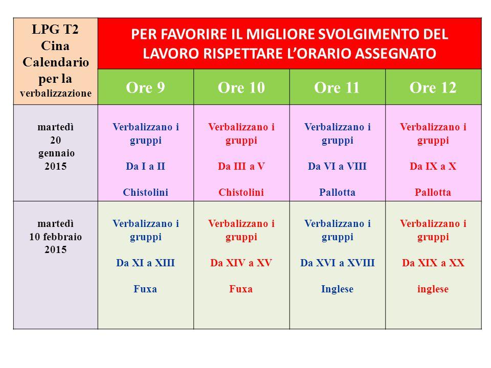 LPG T2 Cina Calendario per la verbalizzazione PER FAVORIRE IL MIGLIORE SVOLGIMENTO DEL LAVORO RISPETTARE L'ORARIO ASSEGNATO Ore 9Ore 10Ore 11Ore 12 ma