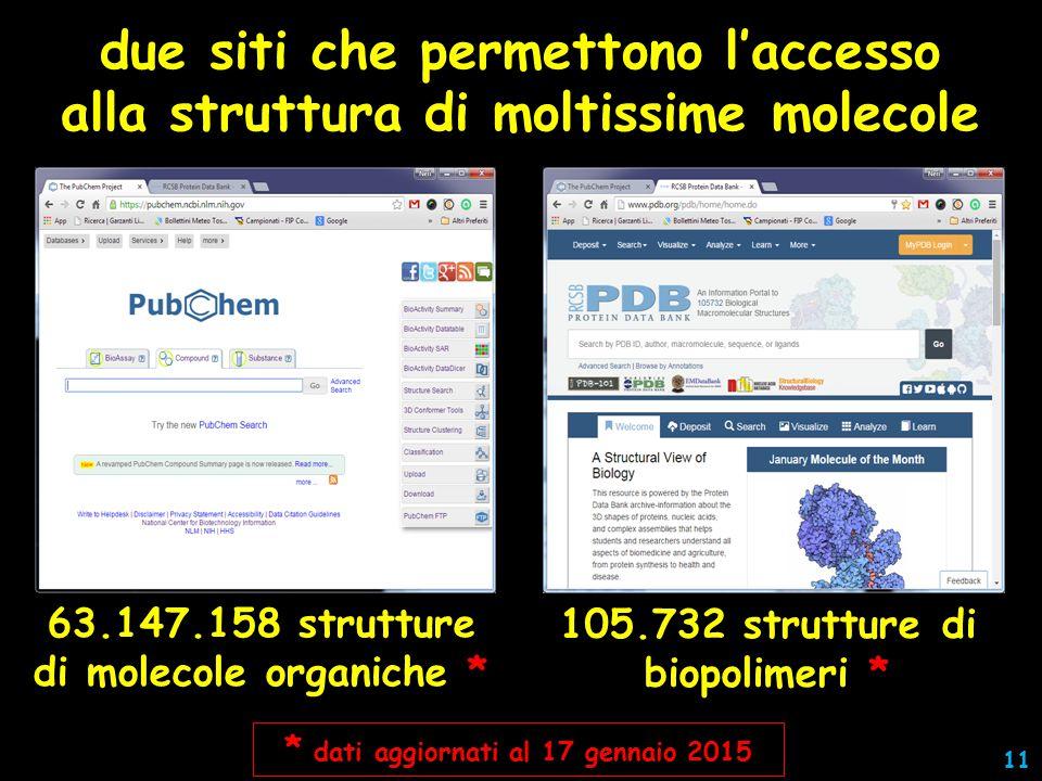 due siti che permettono l'accesso alla struttura di moltissime molecole 63.147.158 strutture di molecole organiche * 105.732 strutture di biopolimeri * * dati aggiornati al 17 gennaio 2015 11