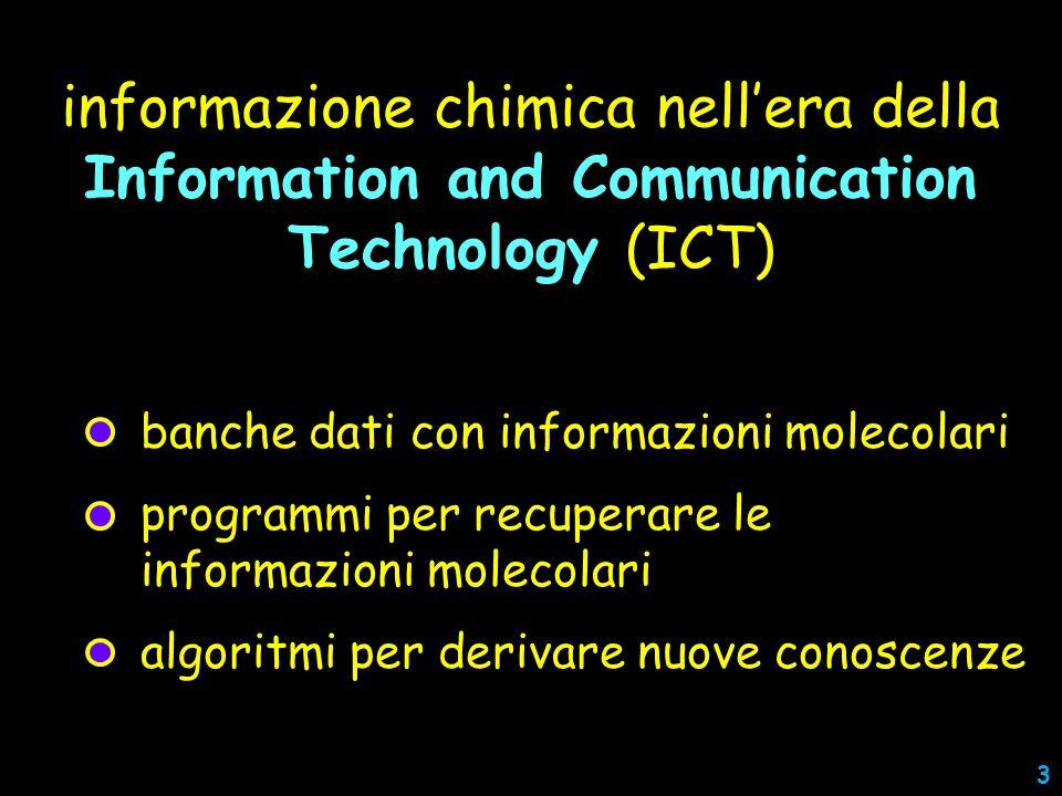 informazione chimica nell'era della Information and Communication Technology (ICT) banche dati con informazioni molecolari programmi per recuperare le informazioni molecolari algoritmi per derivare nuove conoscenze 3