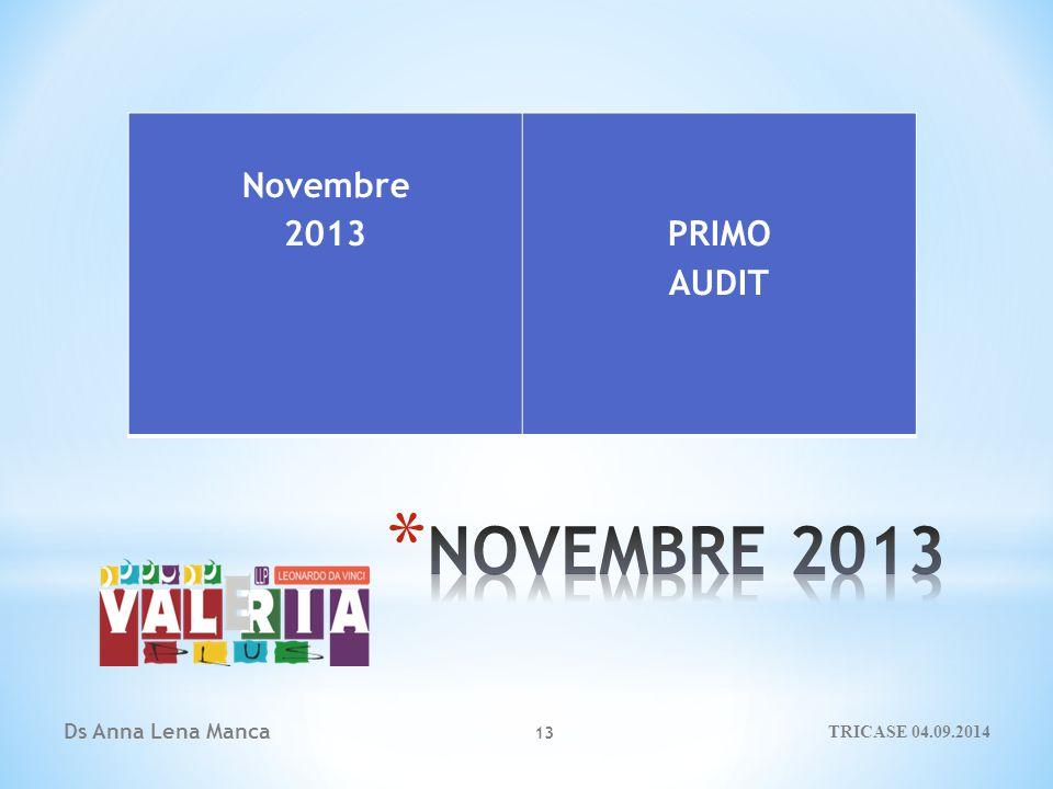 Ds Anna Lena Manca 13 Novembre 2013PRIMO AUDIT TRICASE 04.09.2014