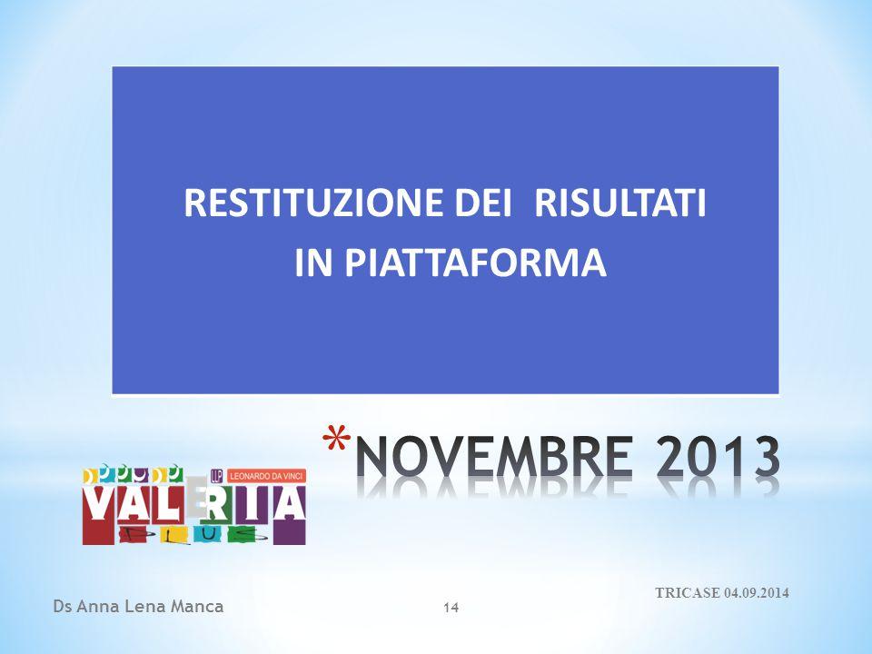 Ds Anna Lena Manca 14 RESTITUZIONE DEI RISULTATI IN PIATTAFORMA TRICASE 04.09.2014