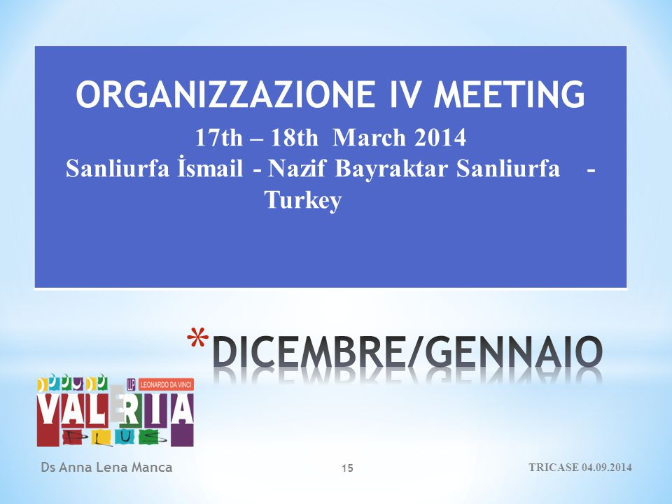 15 ORGANIZZAZIONE IV MEETING 17th – 18th March 2014 Sanliurfa İsmail - Nazif Bayraktar Sanliurfa - Turkey Ds Anna Lena Manca TRICASE 04.09.2014