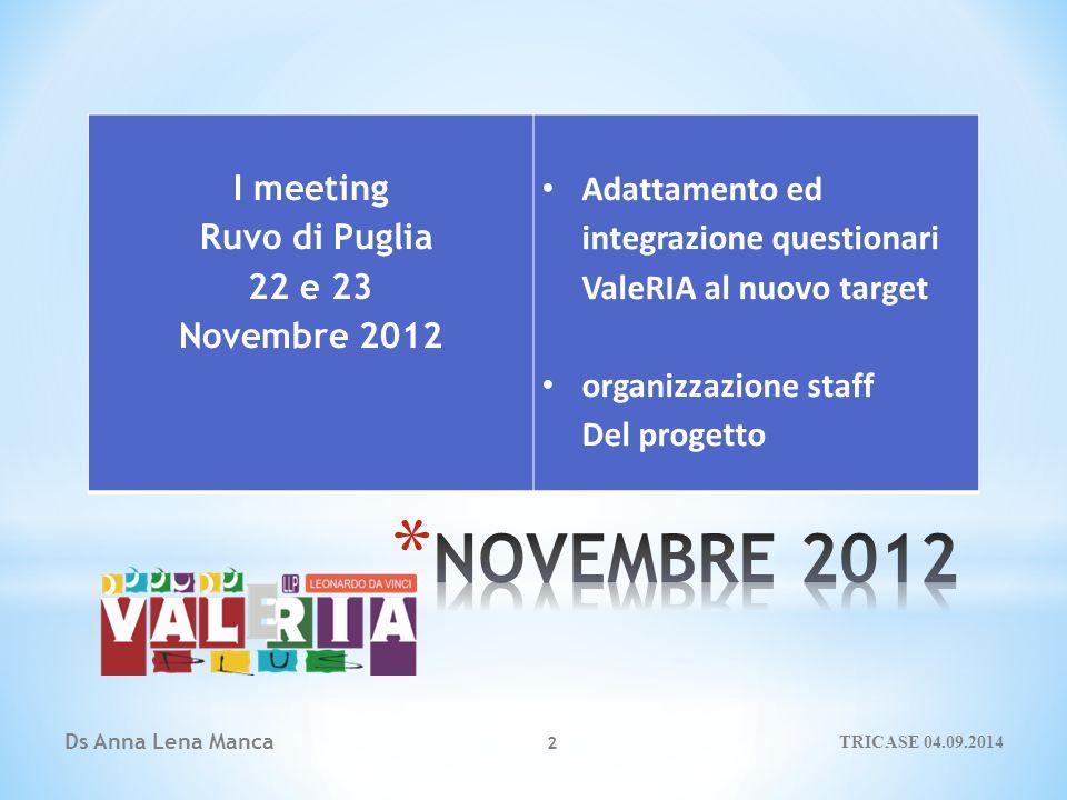 Ds Anna Lena Manca 2 I meeting Ruvo di Puglia 22 e 23 Novembre 2012 Adattamento ed integrazione questionari ValeRIA al nuovo target organizzazione staff Del progetto TRICASE 04.09.2014