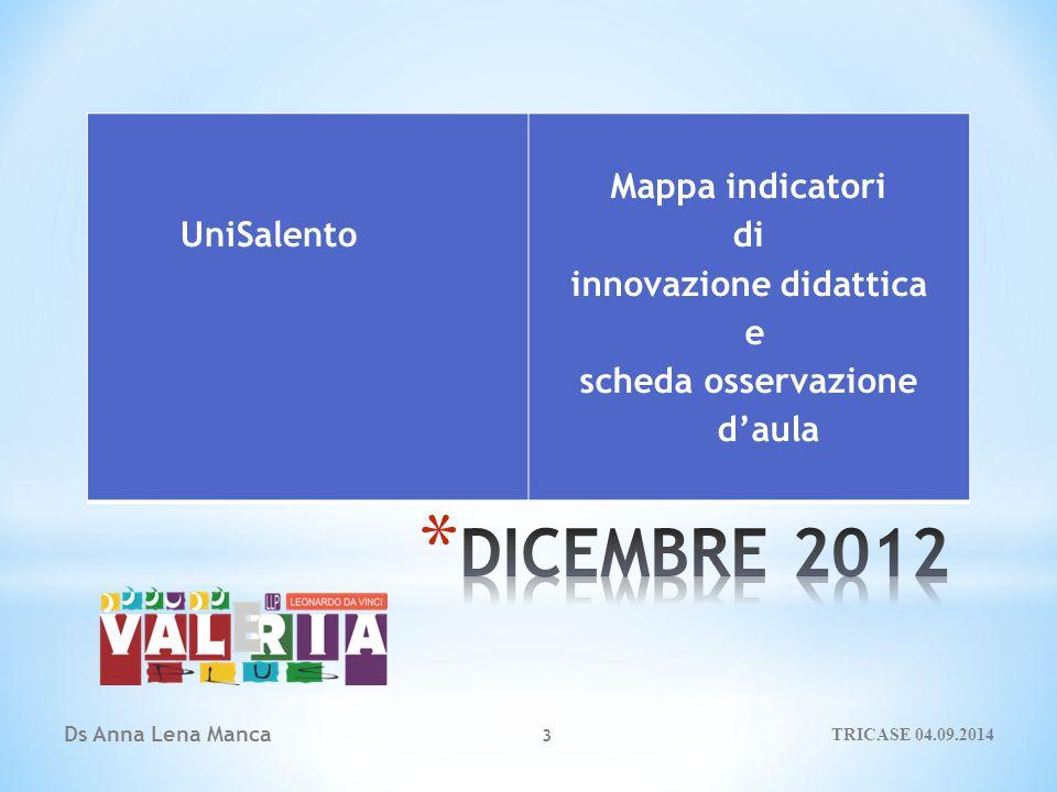 Ds Anna Lena Manca UniSalento Mappa indicatori di innovazione didattica e scheda osservazione d'aula 3 TRICASE 04.09.2014
