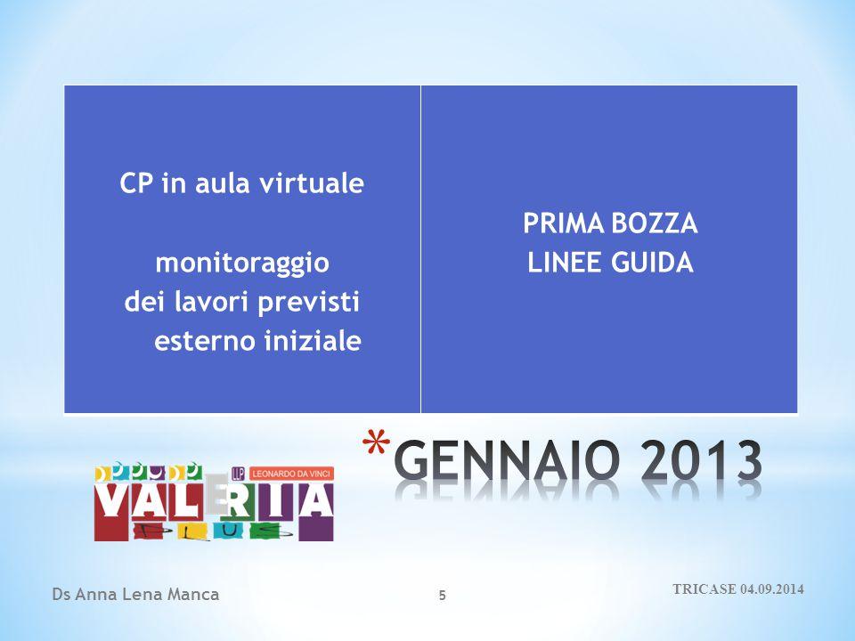 Ds Anna Lena Manca 5 CP in aula virtuale monitoraggio dei lavori previsti esterno iniziale PRIMA BOZZA LINEE GUIDA TRICASE 04.09.2014