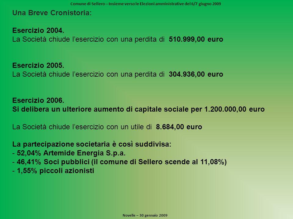 Comune di Sellero – Insieme verso le Elezioni amministrative del 6/7 giugno 2009 Novelle – 30 gennaio 2009 Una Breve Cronistoria: Esercizio 2004.