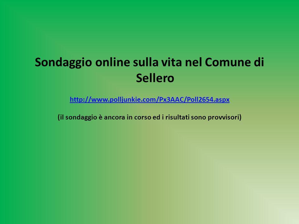 Sondaggio online sulla vita nel Comune di Sellero http://www.polljunkie.com/Px3AAC/Poll2654.aspx (il sondaggio è ancora in corso ed i risultati sono provvisori)