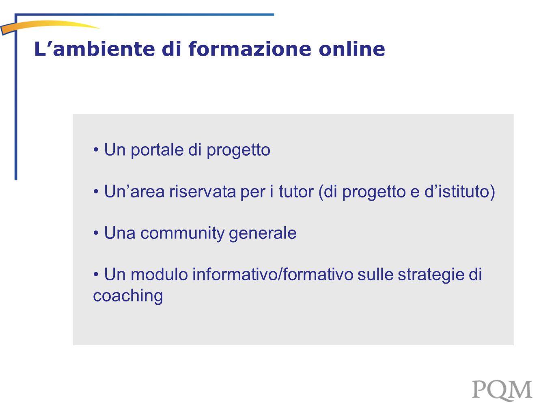 L'ambiente di lavoro on line - Un portale di progetto Un'area riservata per i tutor (di progetto e d'istituto) Una community generale Un modulo informativo/formativo sulle strategie di coaching L'ambiente di formazione online