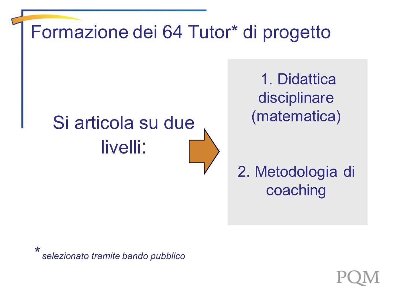Si articola su due livelli : Formazione dei 64 Tutor* di progetto 1. Didattica disciplinare (matematica) 2. Metodologia di coaching * selezionato tram